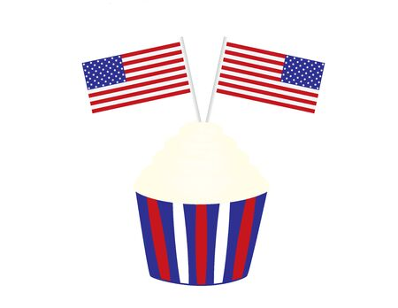 4th of July birthday cupcake with flags.