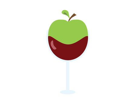 Green apple in wine glass vector icon isolated
