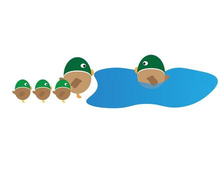 Illustration of ducks family cartoon isolated on a white background