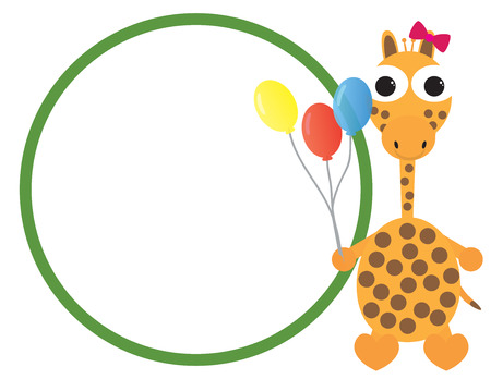 Cute giraffe cartoon holding colorful balloons isolated on plain background.