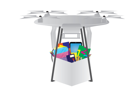 Drone delivery with the package of school supplies illustration.