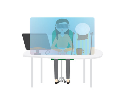 Woman in office with virtual reality glasses. Summer vacation vr game
