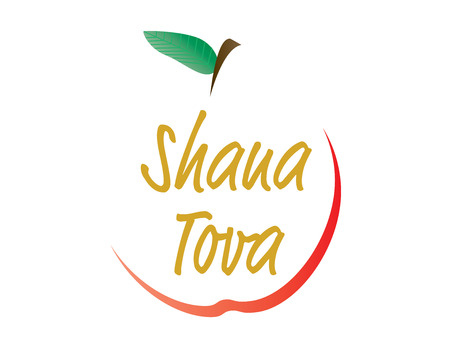 Apple shape Shana Tova Greeting card illustration.