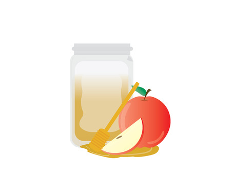 Red apple, apple slice, honey jar and wooden dipper on White background