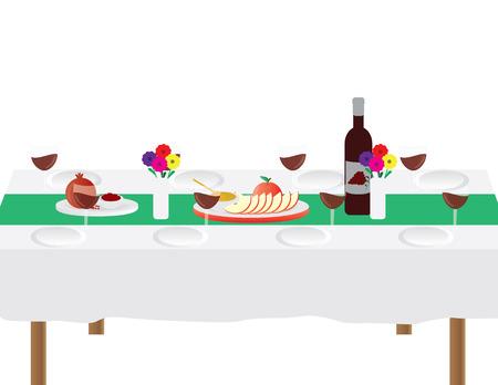 Jewish Rosh Hashanah Festive dinner table vector illustration isolated