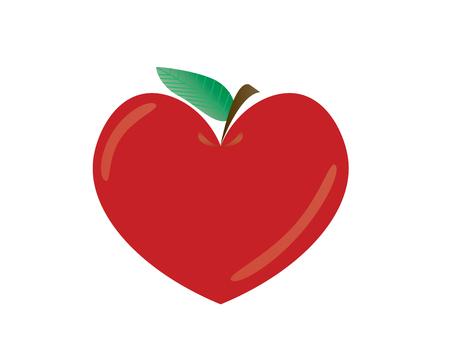 Heart shape apple vector illusration isolated