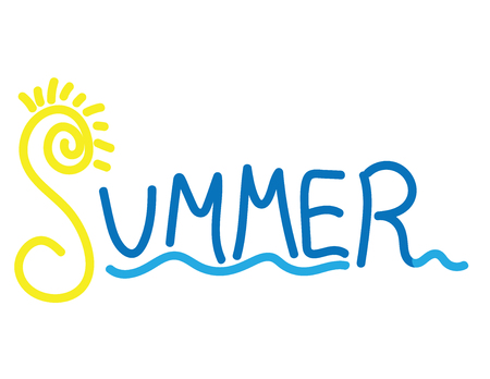 Summer Hand drawn banner. The word summer, sun and sea illustration.