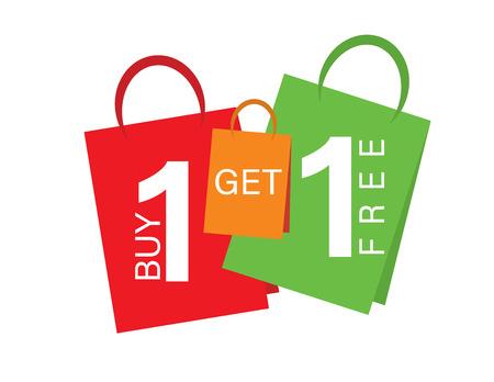 Bannière de vente Achetez-en un, obtenez-en un gratuitement. Texte de bannière de vente sur les sacs à provisions Vecteurs