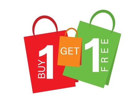 Sale banner Buy one get one free. Sale banner text on shopping bags Фото со стока - 99911961
