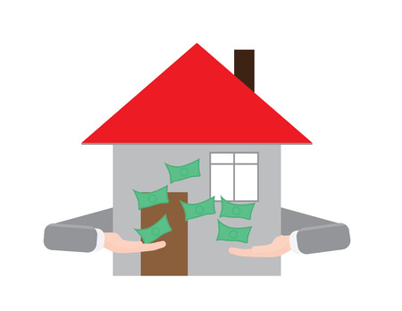 House with hands throwing money Vector illustration.