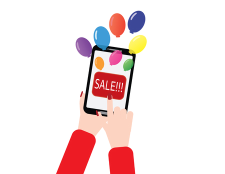 Woman hand holding smartphone with balloons and sale button.