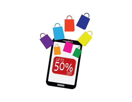 Smartphone with shopping bags and up to 50 percent off button Çizim