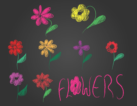hand drawn flowers and text on black background Stock Illustratie