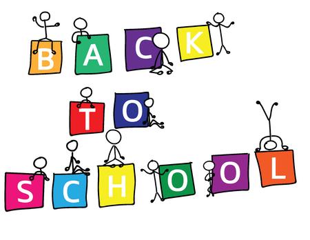 Ritorno a scuola Testo in cubi colorati e figure stilizzate