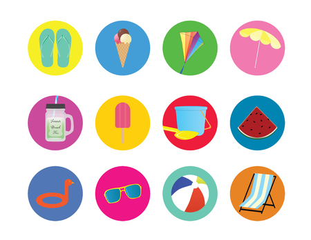 Summer icons on color circles