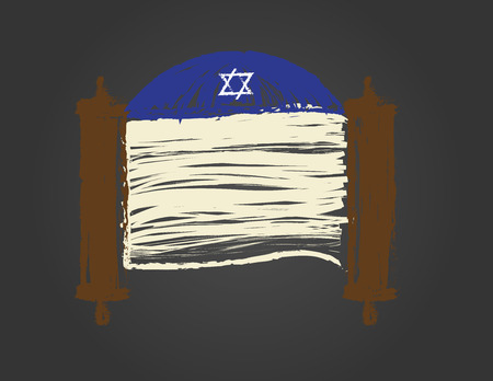 Torah scroll and Blue kippah on black background