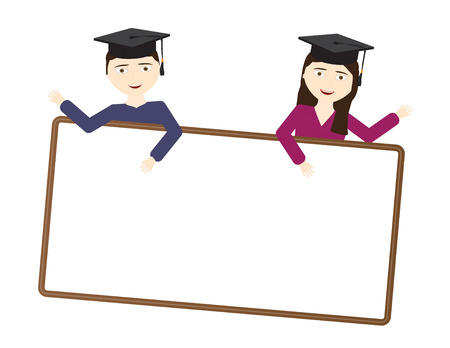 Two students with black graduate cap holding a blank White sign with brown frame Illustration