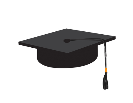 Vector Black graduate cap on White background