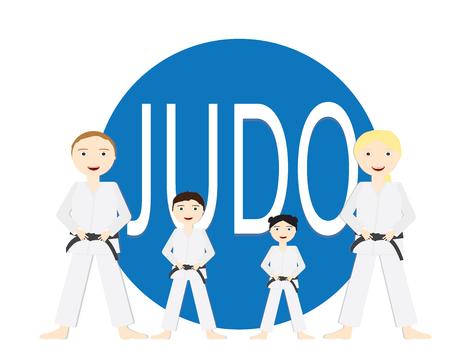 Grupo de personas, adultos y niños con uniformes de Judo y cinturón negro de pie frente a un círculo azul bif con la palabra JUDU