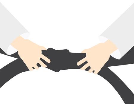 Martial art vector background - hand holding Black belt Stock Illustratie
