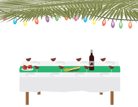 Jewish holiday traditional Sukkah and dinner table on white background