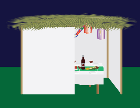 Jewish holiday traditional Sukkah and dinner table Vektorové ilustrace