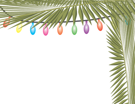 Palm tree leaves and colorful string lights Stock Illustratie