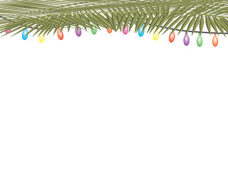 Palm tree leaves and colorful string lights on white background