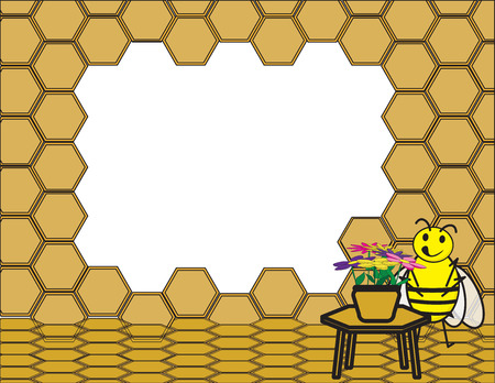 Cute Bee near a table with flowers. honeycomb background frame