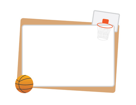 Basketball frame with ball and net isolated Ilustração