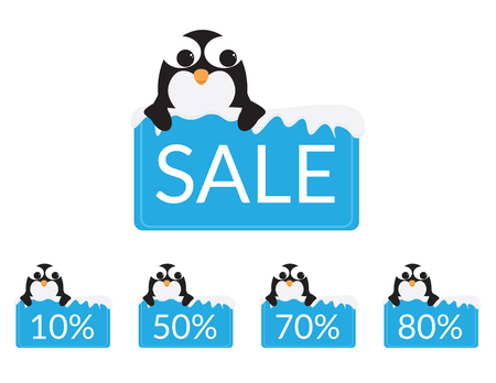 Set of Cute Penguins behind a Blue sign with snow, discounts and sale text Illustration