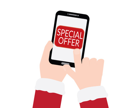 Hand with red sleeves holding smartphone with SPECIAL OFFER text on White background