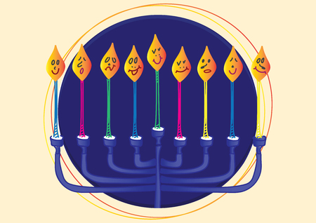 Blue Menora and Nine candles with different face expressions, Dark Blue Circle and Light Yellow background Illustration