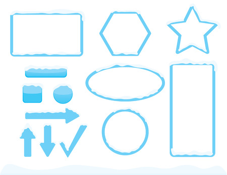 Winter theme frames and buttons shapes with snow Illustration