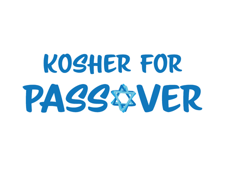 Kosher for passover Blue vector symbol with star of David on White background