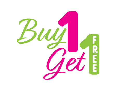Green and Pink Buy one get one free icon with the word free on the number Illustration
