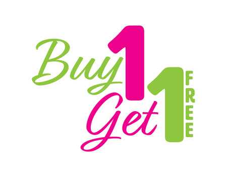 Green and Pink Buy one get one free icon