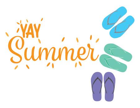 Yay summer happy summer banner avec illustration de tongs vectorielles
