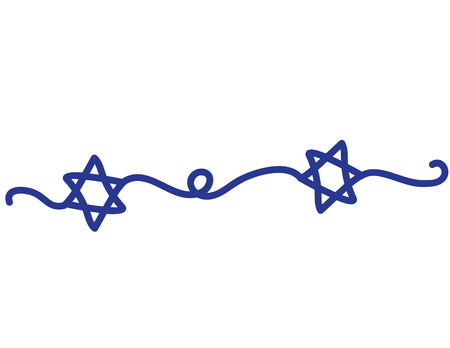 Hand Drawn Blue Star of David icon on White background