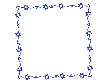 Hand Drawn Blue Star of David frame on White background