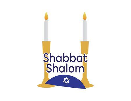 Shabbat Shalom with Blue Kippah