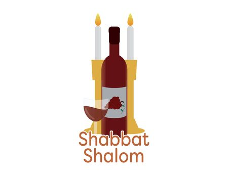 Shabbat Shalom with Candles and wine Stock Vector - 129399200