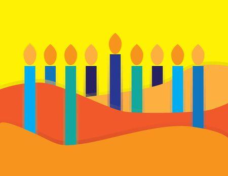 Abstract Hanukkah Menorah on Yellow and Orange background