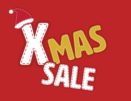 Red, White and Gold Xmas Sale banner Иллюстрация