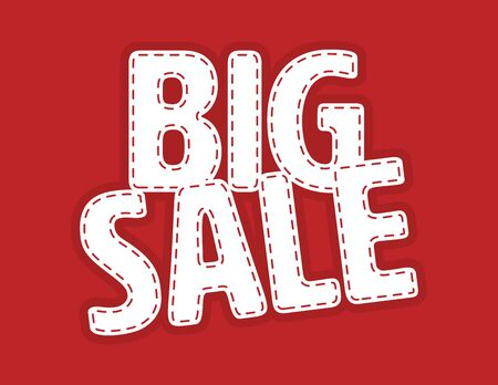 White Big Sale vector patch on Red Background