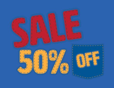 Red and Yellow Sale 50% off vector patch on Blue Background Иллюстрация