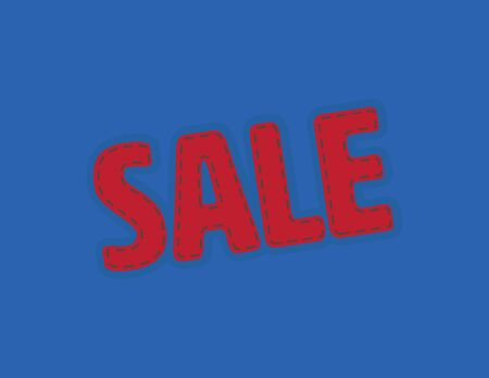 Red Sale vector patch on Blue Background