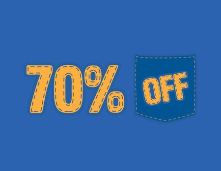 Colorful Sale vector patch - 70% off Иллюстрация