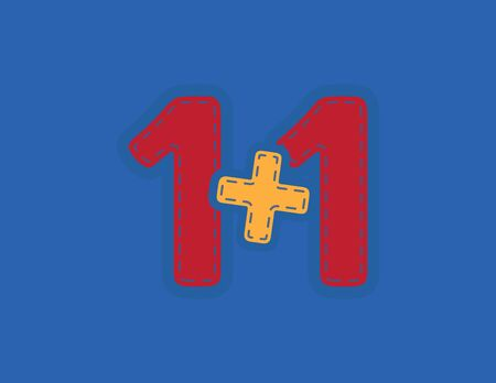 Red and Yellow One Plus One vector patch on Blue Background