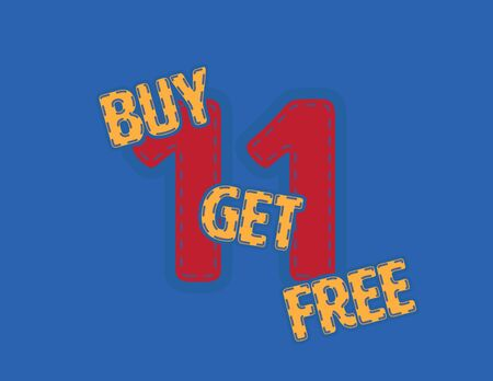 Yellow and Red Buy One get One free vector patch on Blue Background